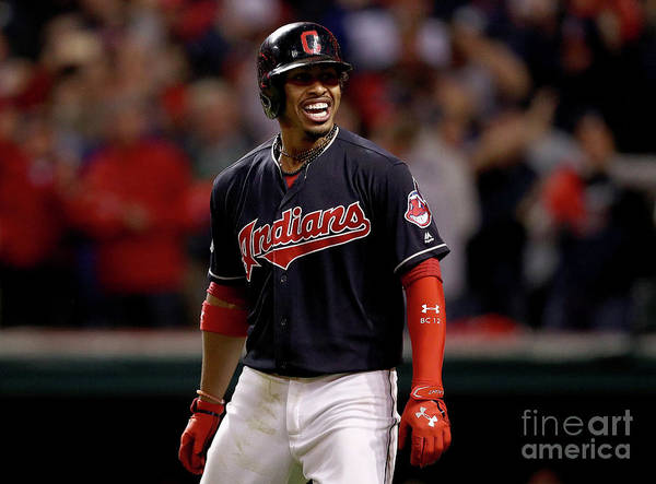 Three Quarter Length Poster featuring the photograph Francisco Lindor and Marco Estrada by Maddie Meyer