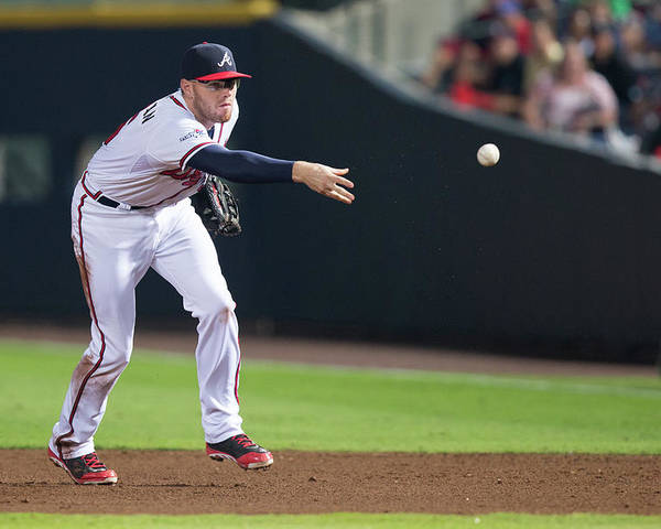 Atlanta Poster featuring the photograph Freddie Freeman by Mike Zarrilli