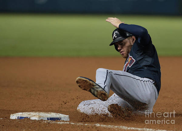 American League Baseball Poster featuring the photograph Freddie Freeman by Rick Yeatts