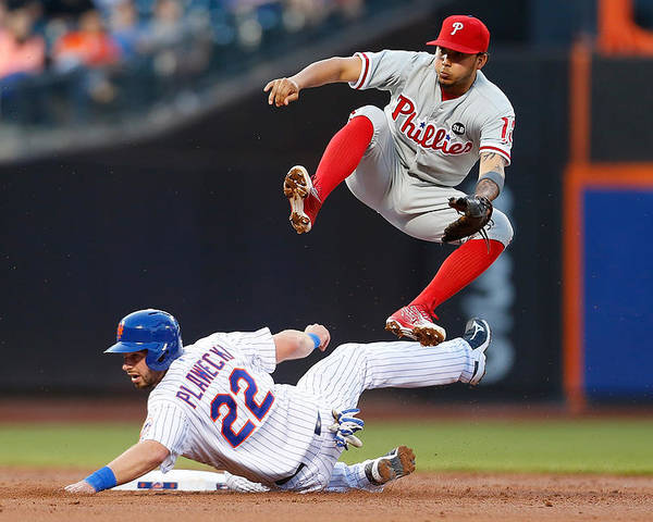 Double Play Poster featuring the photograph Freddy Galvis by Mike Stobe