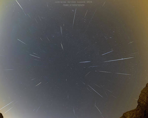 Poster featuring the photograph Geminids Meteor Shower 2020 by Prabhu Astrophotography