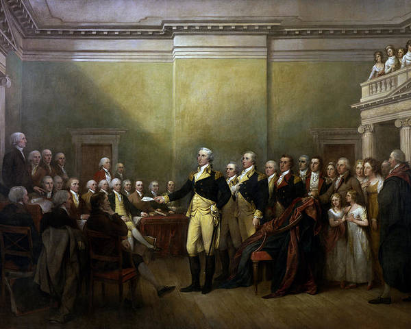 George Washington Poster featuring the painting General Washington Resigning His Commission by War Is Hell Store