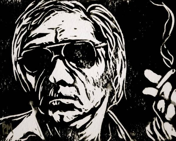 George Jones Poster featuring the drawing George Jones by Pete Maier