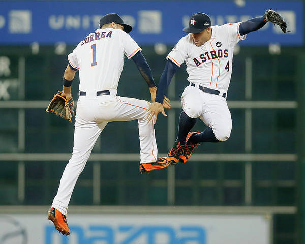 People Poster featuring the photograph George Springer and Carlos Correa by Bob Levey