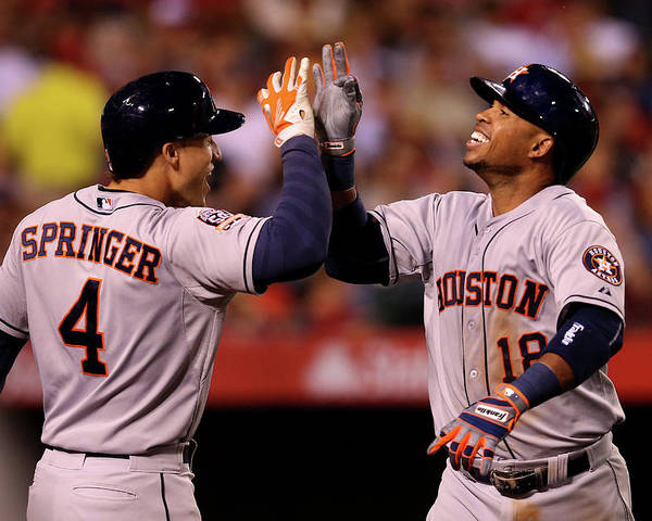 People Poster featuring the photograph George Springer and Luis Valbuena by Stephen Dunn