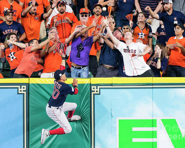 Game Two Poster featuring the photograph George Springer and Mookie Betts by Billie Weiss/boston Red Sox