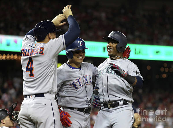 Three Quarter Length Poster featuring the photograph George Springer, Jean Segura, and Shin-soo Choo by Patrick Smith
