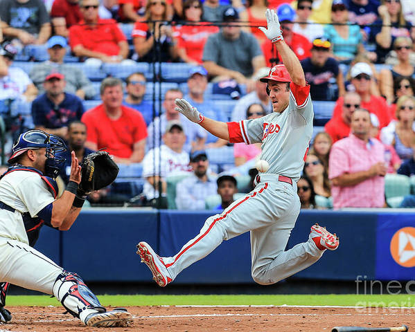 Atlanta Poster featuring the photograph Gerald Laird and Chase Utley by Daniel Shirey