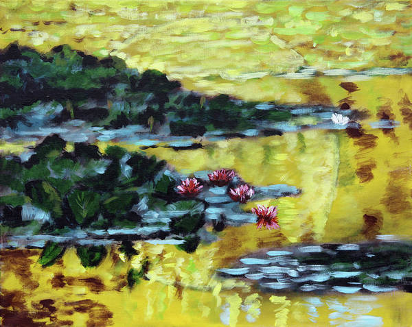 Water Lilies Poster featuring the painting Golden Lily Pond by John Lautermilch