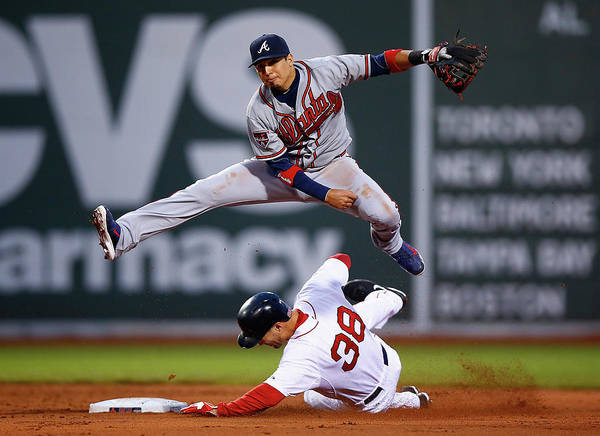 Double Play Poster featuring the photograph Grady Sizemore and Ramiro Pena by Jared Wickerham