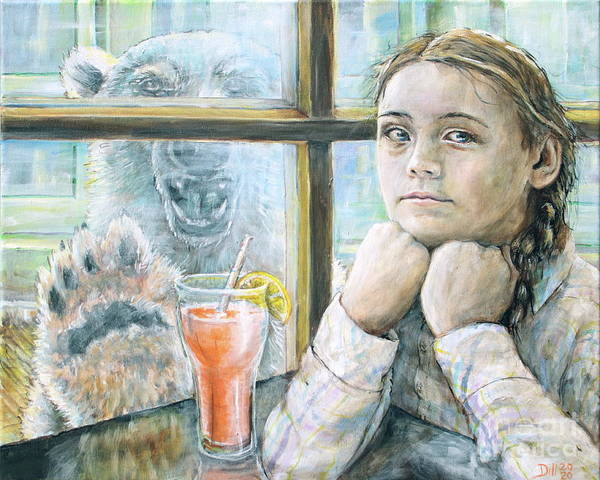 Greta Thunberg Environmental Polar Bear Animal Environment Portrait Girl White Color Hanging Window Global Warming Poster featuring the painting Greta takes a break by Rust Dill