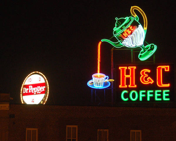 H C Coffee Poster featuring the photograph H and C Coffee Sign Roanoke Virginia by Suzanne Gaff