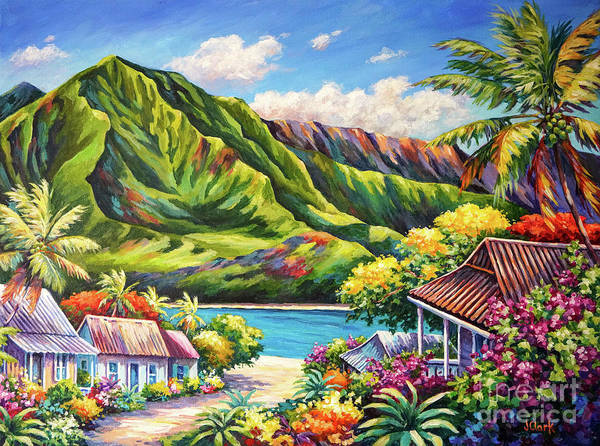 Kauai Poster featuring the painting Hanalei in Bloom by John Clark
