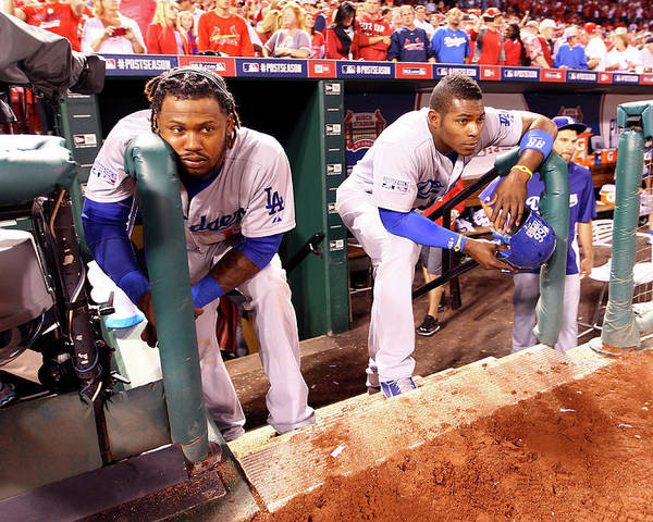 American League Baseball Poster featuring the photograph Hanley Ramirez and Yasiel Puig by Jamie Squire
