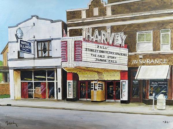 Harvey Illinois Poster featuring the painting Harvey Theater by William Brody