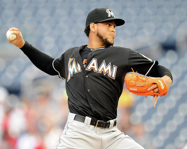 American League Baseball Poster featuring the photograph Henderson Alvarez by Greg Fiume