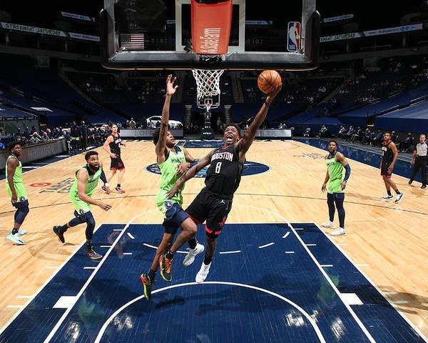 Nba Pro Basketball Poster featuring the photograph Houston Rockets v Minnesota Timberwolves by David Sherman
