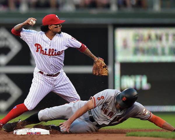 Double Play Poster featuring the photograph Hunter Pence and Freddy Galvis by Drew Hallowell