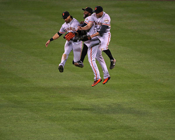 People Poster featuring the photograph Hunter Pence, Denard Span, and Angel Pagan by Doug Pensinger