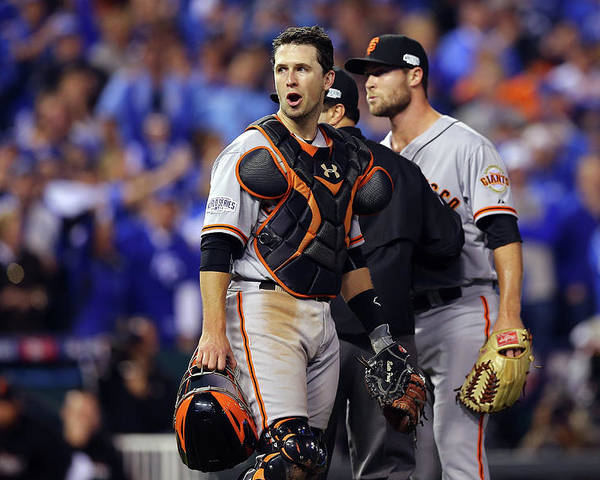 Game Two Poster featuring the photograph Hunter Strickland and Buster Posey by Elsa