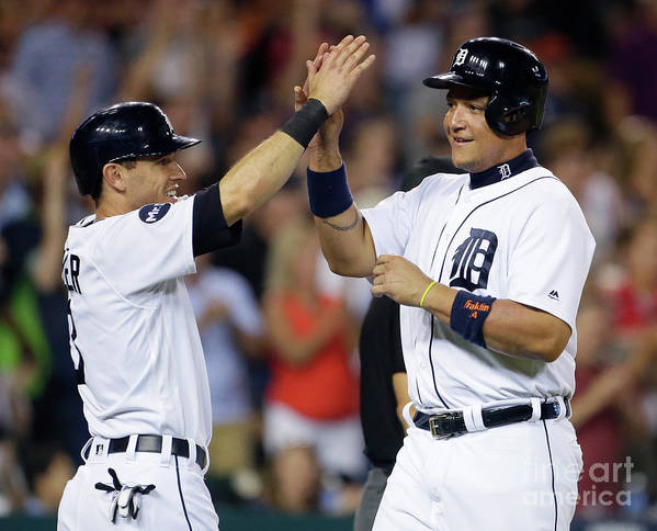 Three Quarter Length Poster featuring the photograph Ian Kinsler, Nick Castellanos, and Miguel Cabrera by Duane Burleson