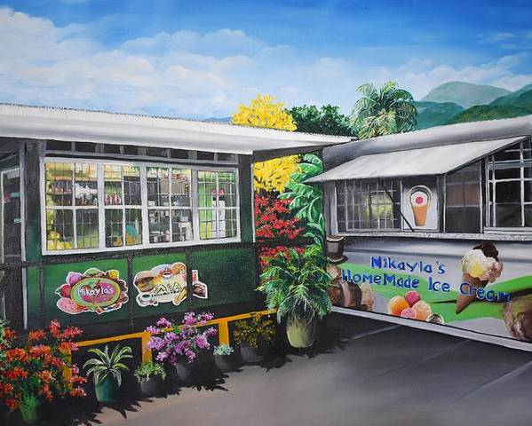 Houses Poster featuring the painting Ice Cream Parlor by Karin Dawn Kelshall- Best