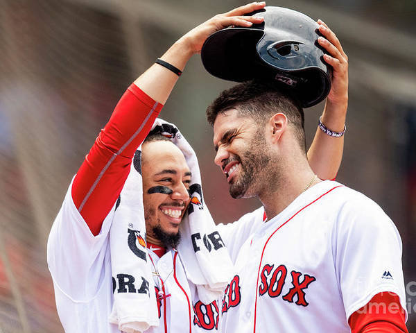 Headwear Poster featuring the photograph J. D. Martinez by Billie Weiss/boston Red Sox