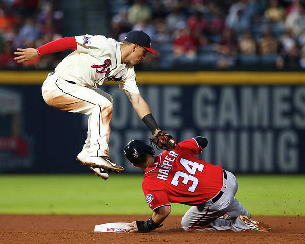 Atlanta Poster featuring the photograph Jace Peterson And Bryce Harper by Kevin Liles