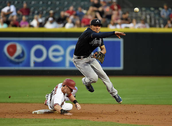 Double Play Poster featuring the photograph Jace Peterson and Chris Owings by Norm Hall