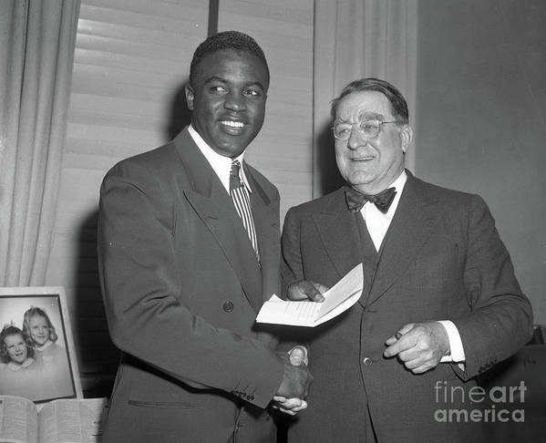Office Poster featuring the photograph Jackie Robinson and Branch Rickey by Transcendental Graphics