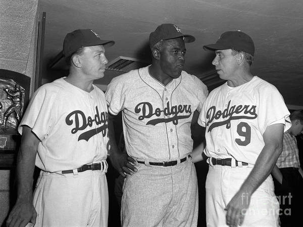 Jackie Robinson Poster featuring the photograph Jackie Robinson and Pee Wee Reese by Olen Collection