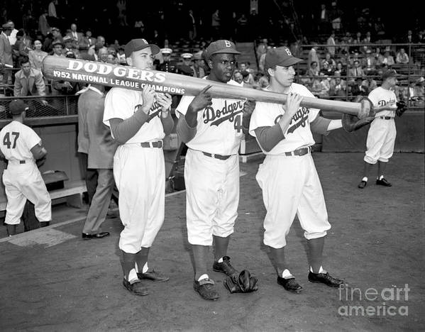 1950-1959 Poster featuring the photograph Jackie Robinson, Duke Snider, and Pee Wee Reese by Olen Collection