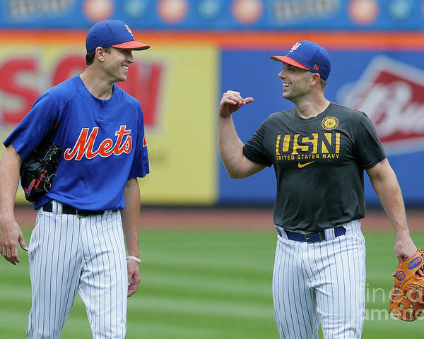 Problems Poster featuring the photograph Jacob Degrom and David Wright by Paul Bereswill