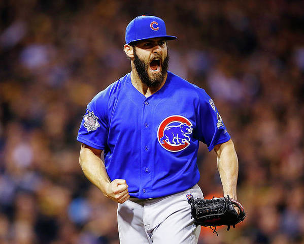 Playoffs Poster featuring the photograph Jake Arrieta by Jared Wickerham