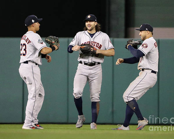 American League Baseball Poster featuring the photograph Jake Marisnick, Michael Brantley, and George Springer by Patrick Smith