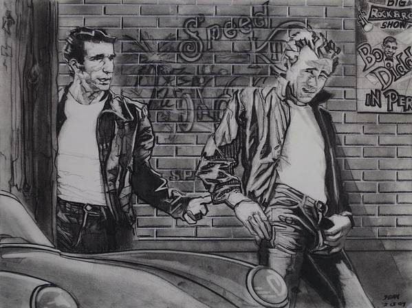 Charcoal On Paper Poster featuring the drawing James Dean Meets The Fonz by Sean Connolly