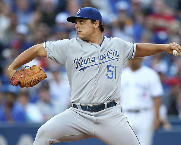 American League Baseball Poster featuring the photograph Jason Vargas by Tom Szczerbowski