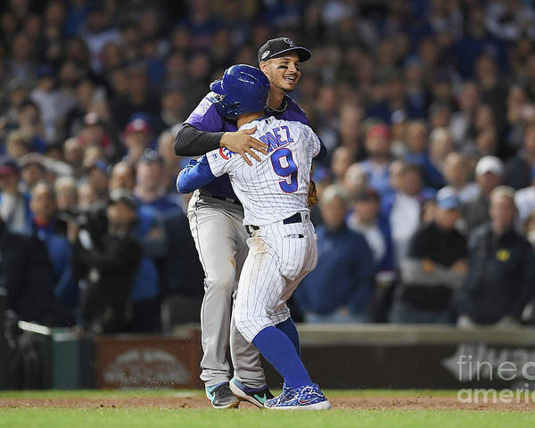 Playoffs Poster featuring the photograph Javier Baez And Nolan Arenado by Stacy Revere