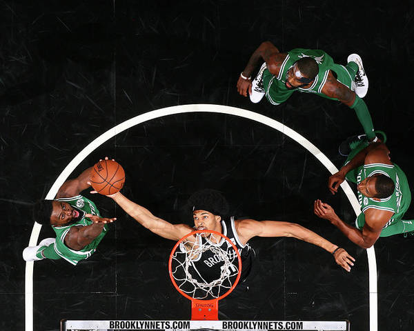 Nba Pro Basketball Poster featuring the photograph Jaylen Brown and Jarrett Allen by Nathaniel S. Butler