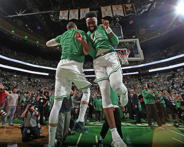 Playoffs Poster featuring the photograph Jaylen Brown and Jayson Tatum by Nathaniel S. Butler