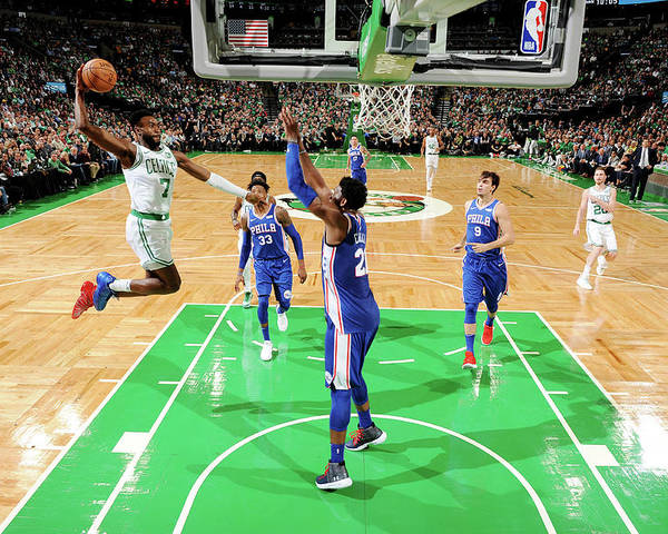 Nba Pro Basketball Poster featuring the photograph Jaylen Brown and Joel Embiid by Brian Babineau