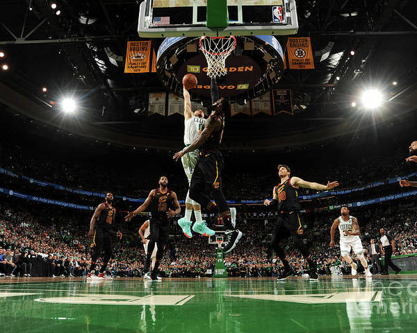 Playoffs Poster featuring the photograph Jayson Tatum and Lebron James by Brian Babineau