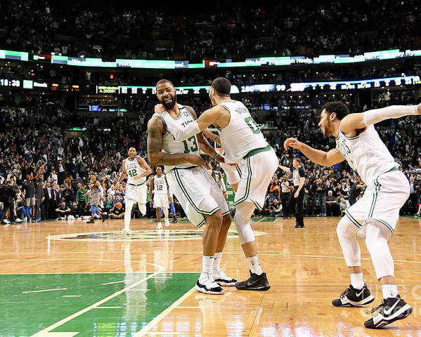 Nba Pro Basketball Poster featuring the photograph Jayson Tatum and Marcus Morris by Brian Babineau