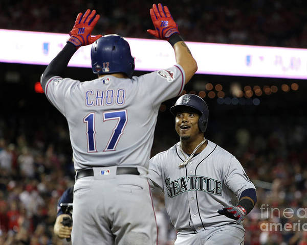 Three Quarter Length Poster featuring the photograph Jean Segura and Shin-soo Choo by Patrick Smith