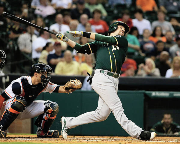 American League Baseball Poster featuring the photograph Jed Lowrie by Scott Halleran