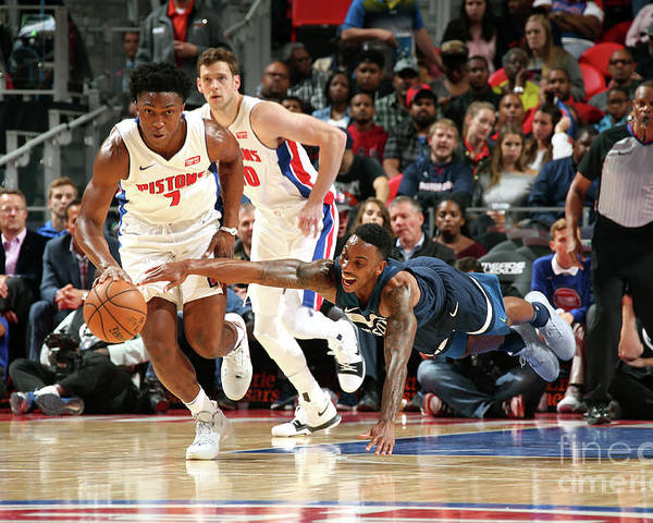 Nba Pro Basketball Poster featuring the photograph Jeff Teague and Stanley Johnson by Brian Sevald