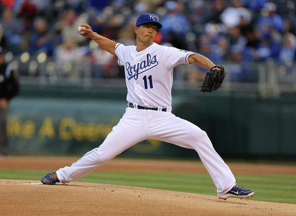 American League Baseball Poster featuring the photograph Jeremy Guthrie by Ed Zurga