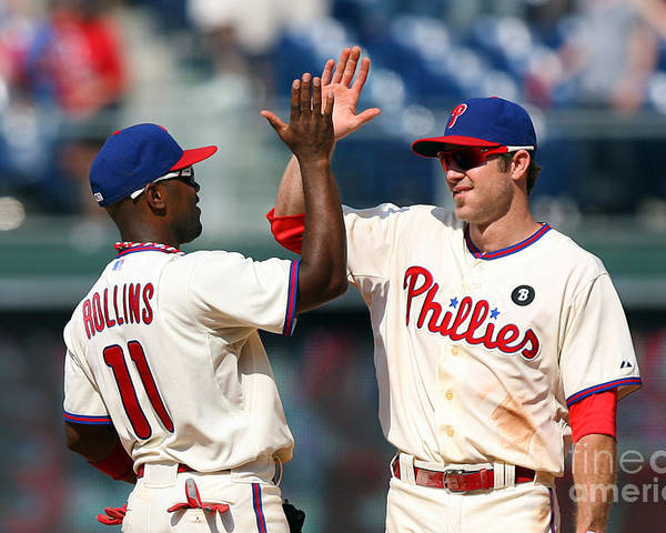 Citizens Bank Park Poster featuring the photograph Jimmy Rollins and Chase Utley by Hunter Martin