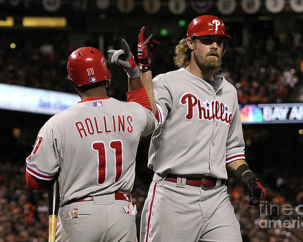Playoffs Poster featuring the photograph Jimmy Rollins and Jayson Werth by Justin Sullivan