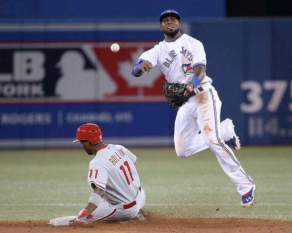 American League Baseball Poster featuring the photograph Jimmy Rollins and Jose Reyes by Tom Szczerbowski
